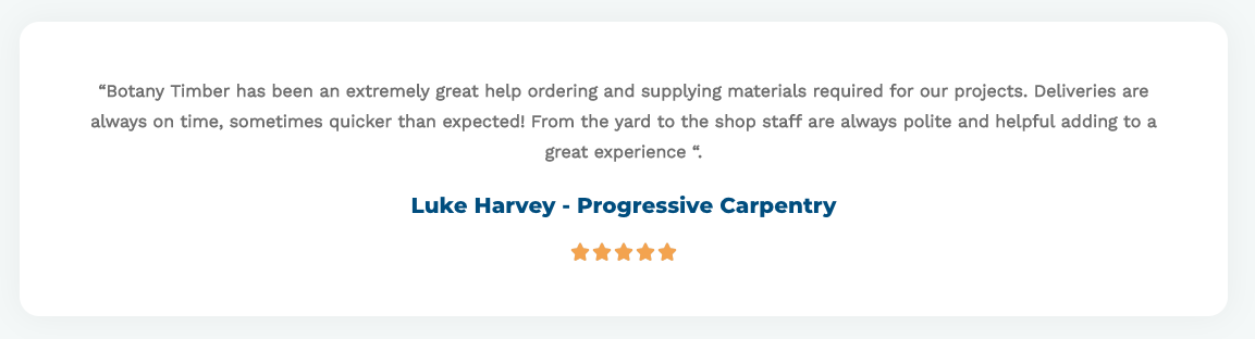 Progressive Carpentry - Testimonial